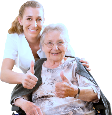 caregiver and elderly woman showing their thumbs up